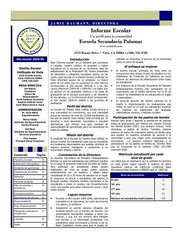Informe Escolar - Vista Unified School District