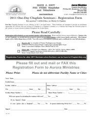 Please fill out and mail or FAX this Registration Form to Aurora ...