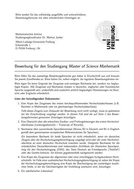 Bewerbungsformular (pdf) - Mathematisches Institut der Universität ...