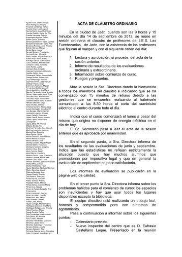 ACTA DE CLAUSTRO ORDINARIO En la ciudad de Jaén, cuando ...
