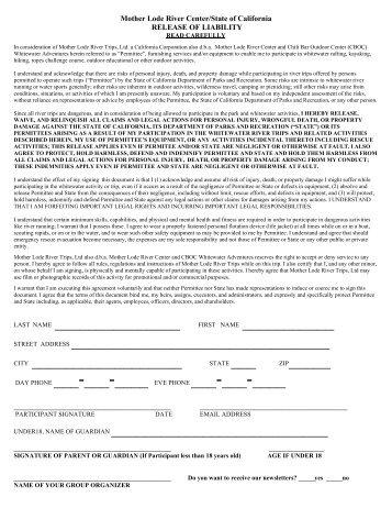 Medical Release Form - Mother Lode River Center