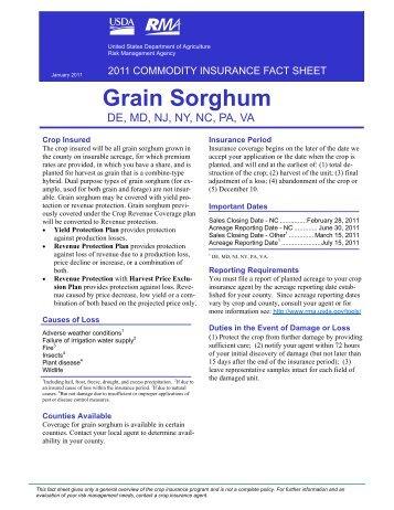 2011 Grain Sorghum - Delaware Department of Agriculture
