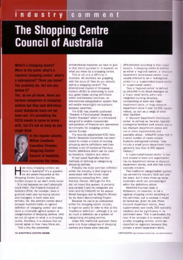 What is a shopping centre? - Shopping Centre Council of Australia