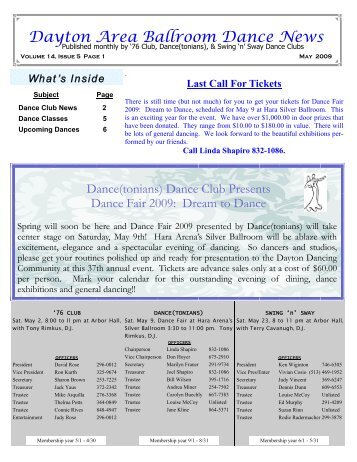 13 05 Mayl 2009 Newsletter - Ballroom Dance Dayton