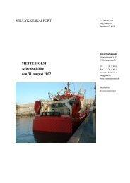 METTE HOLM - Arbejdsulykke den 31. august 2002 - Søfartsstyrelsen