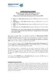 Comunicato Stampa Risultati Primo Trimestre 2009 - Manutencoop