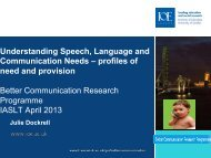 Understanding Speech, Language and Communication Needs ...