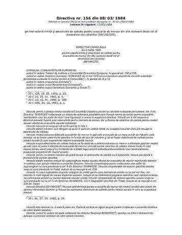 Directiva nr.156 din 8 Martie 1984 privind valorile ... - Aquademica