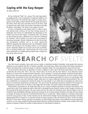 IN SEARCH OF SVELTE - Kentucky Equine Research