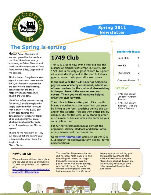 1749 Club - Ripley Cricket Club