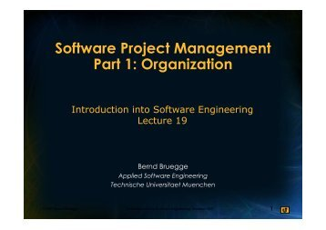 Software Project Management Part 1: Organization - Chair for ...