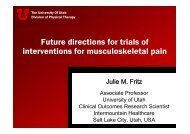 Julie Fritz presentation - World Confederation for Physical Therapy