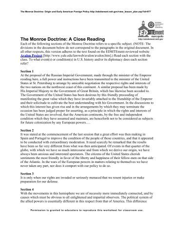 worksheets monroe doctrine worksheet opossumsoft worksheets and printables. Black Bedroom Furniture Sets. Home Design Ideas