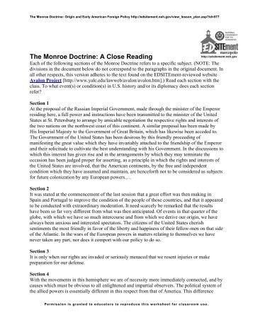 Worksheets Monroe Doctrine Worksheet monroe doctrine worksheet essay monroedoctrine g essay