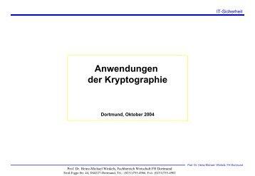 Anwendungen der Kryptographie - Prof. Dr. Heinz-Michael Winkels