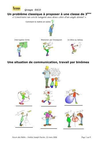 Un problème vu du côté élèves - IREM de Grenoble - Université ...