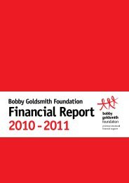 2011 Annual Report - The Bobby Goldsmith Foundation