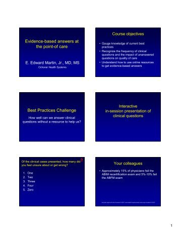 Evidence-based answers at the point-of care Best Practices ... - LAFP