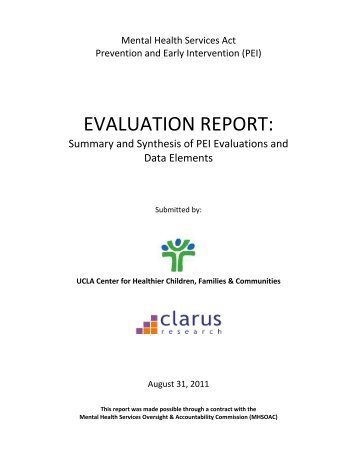 Evaluation Report - Mental Health Services Oversight and ...