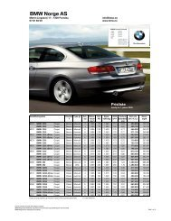 E92 - 3-serie Coupe 01.2009 Veiledende prisliste - BMW