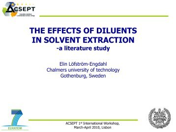The effects of diluents in solvent extraction - a literature - ACSEPT