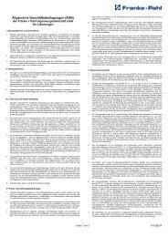 Allgemeine Geschäftsbedingungen (AGB) - Franke + Pahl