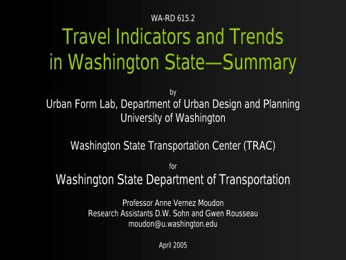 Travel Indicators and Trends in Washington State—Summary