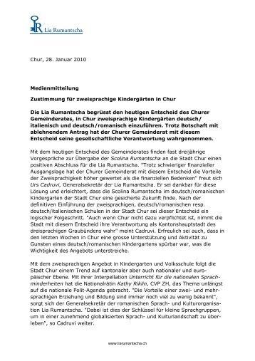 Chur, 28. Januar 2010 Medienmitteilung ... - Lia Rumantscha