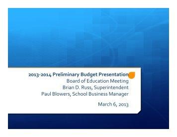 Tentative 2013-‐2014 Budget - East Aurora Union Free School