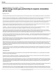 Wind energy needs gas partnership to expand, renewables group ...