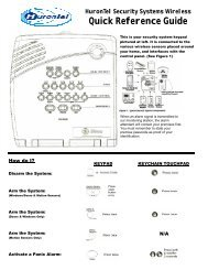 HuronTel Security Systems Wireless Quick Reference Guide