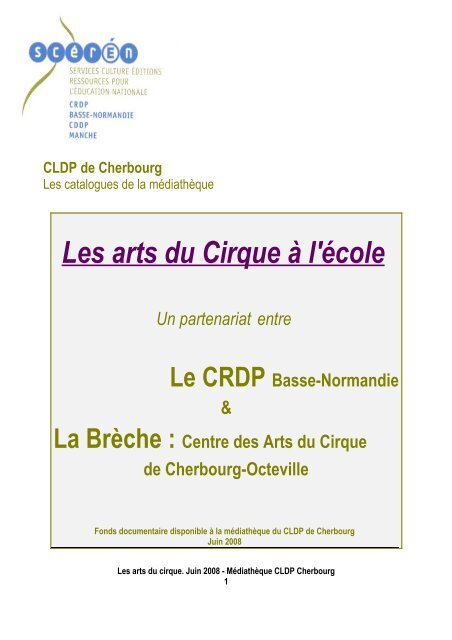 Catalogue Du Fonds Cirque Au Cldp De Cherbourg Crdp Basse