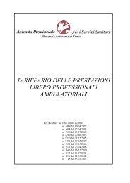 Tariffario delle prestazioni libero professionali ambulatoriali