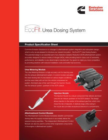 EcoFit™ Urea Dosing System - Cummins Emission Solutions
