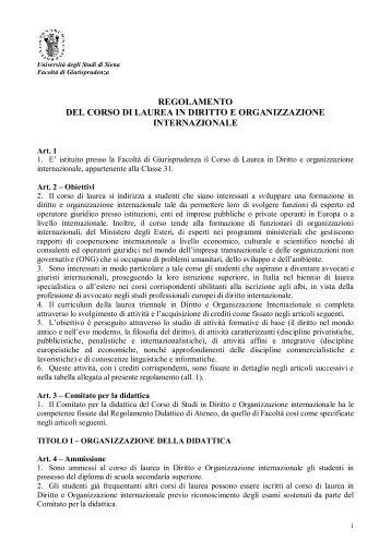 Diritto e organizzazione internazionale - Unisi.it - Università degli ...