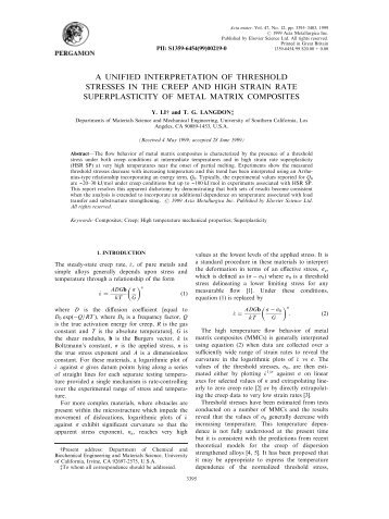 a unified interpretation of threshold stresses in the creep and high ...