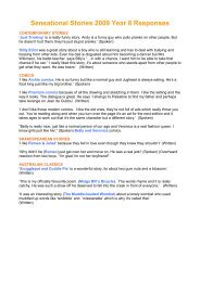 Sensational Stories 2009 Year 8 Responses