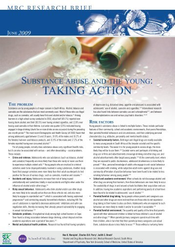 Substance abuse and the young - SA Medical Research Council