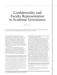Confidentiality and Faculty Representation in Academic Governance