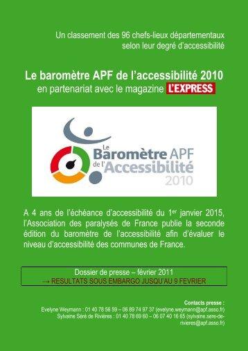 le barometre de l'accessibilite 2010 - Espace Presse - APF