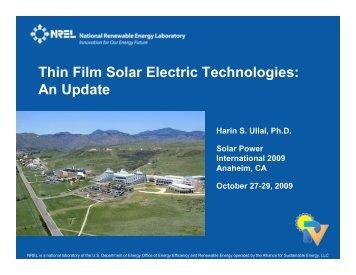 Thin Film Solar Electric Technologies: An Update