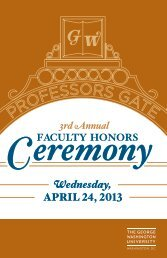 Third Annual Faculty Honors Ceremony - The George Washington ...