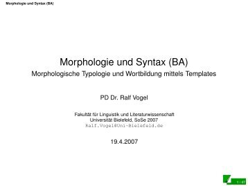 Morphologische Typologie und Wortbildung mittels Templates