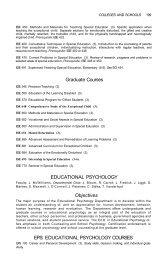 Graduate Courses EDUCATIONAL PSYCHOLOGY Objectives EPS ...