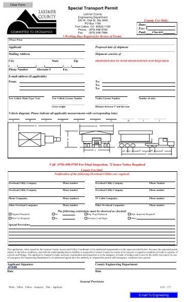 Special Transport Permit - About Larimer County