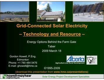 Grid-Connected Solar Electricity – Technology and Resource –