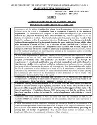 STAFF SELECTION COMMISSION NOTICE