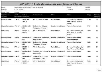 2012/2013 Lista de manuais escolares adotados - Eb23caiderei.pt