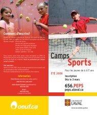 camps d'initiation aux sports - Peps - Université Laval