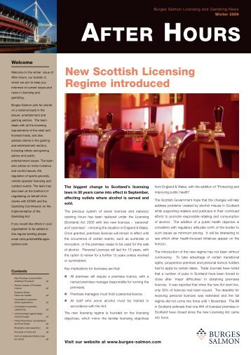 After Hours - Licensing and Gambling News - Burges Salmon